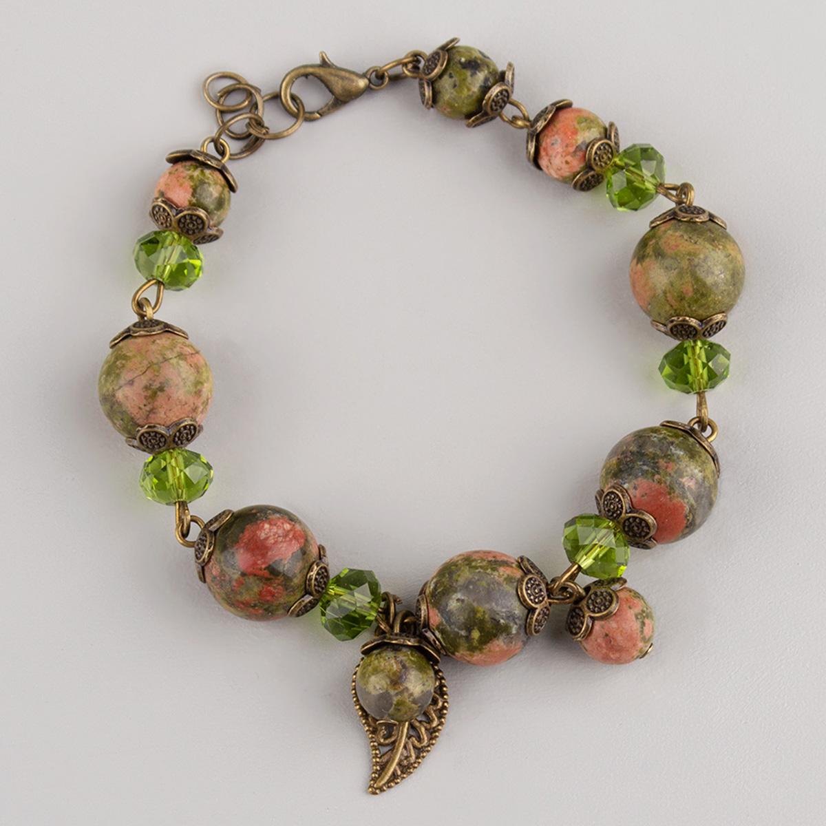Natural Unakite and Crystal Bracelet