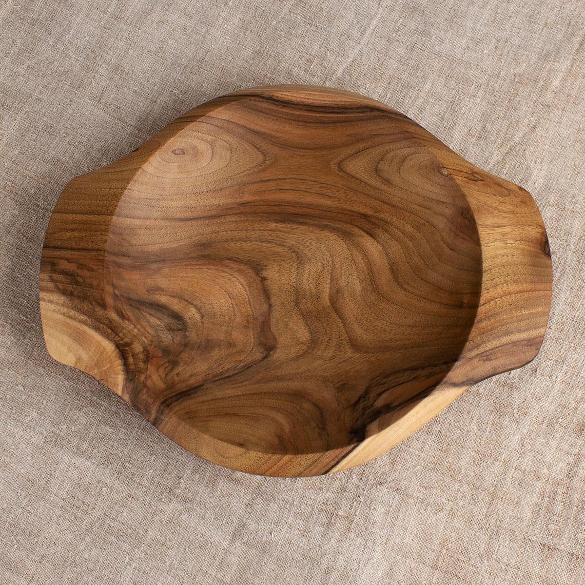 Round Walnut Platter with handles