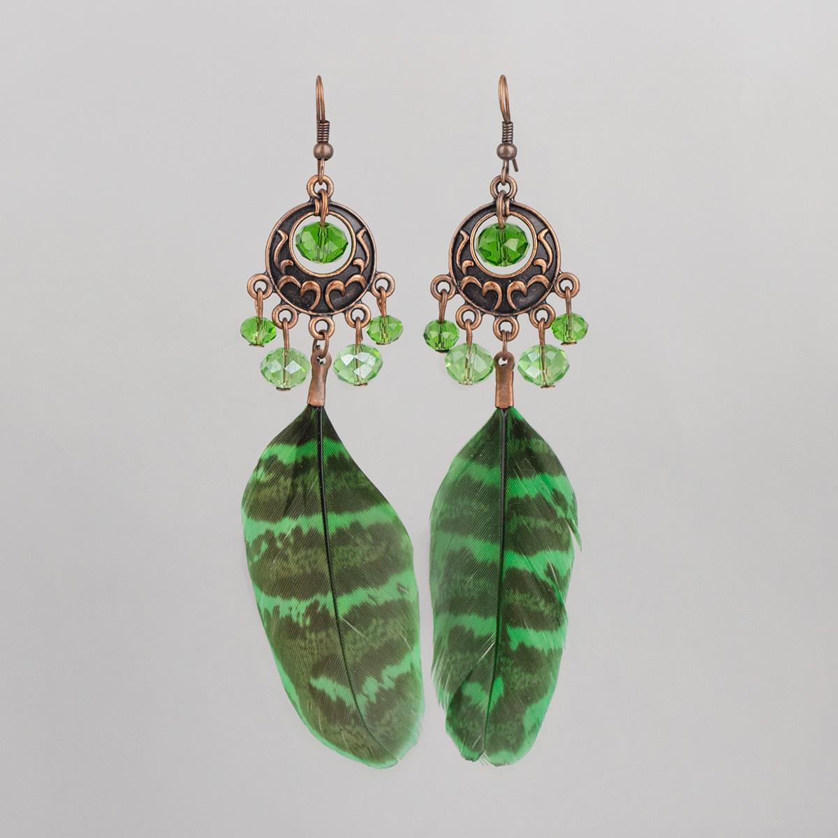 Green Pheasant feather earrings