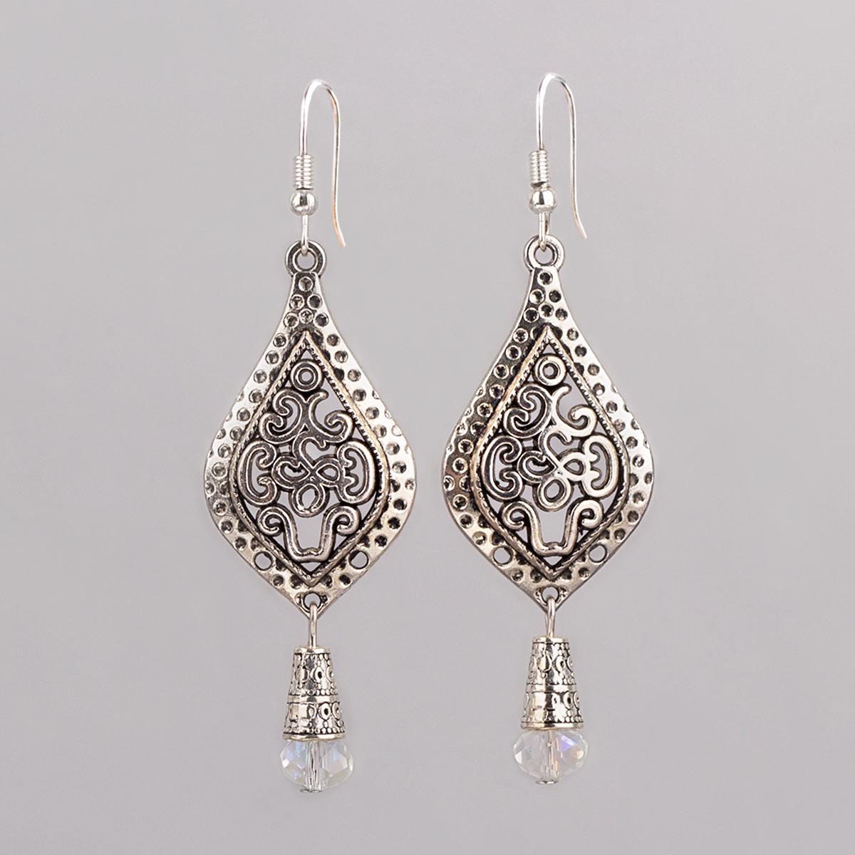 """Vintage earrings """"Drop"""", Czech crystal, 7 cm"""