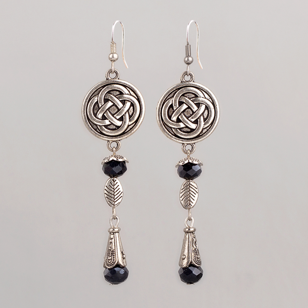 """Earrings """"Celtic knot"""", black crystal, 8 cm"""