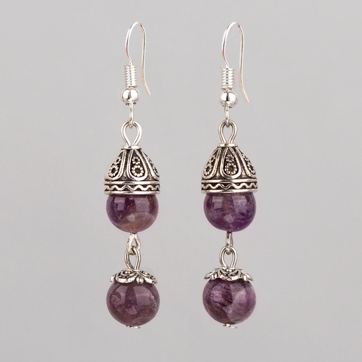 Earrings with Amethyst, Purple 5,2 cm