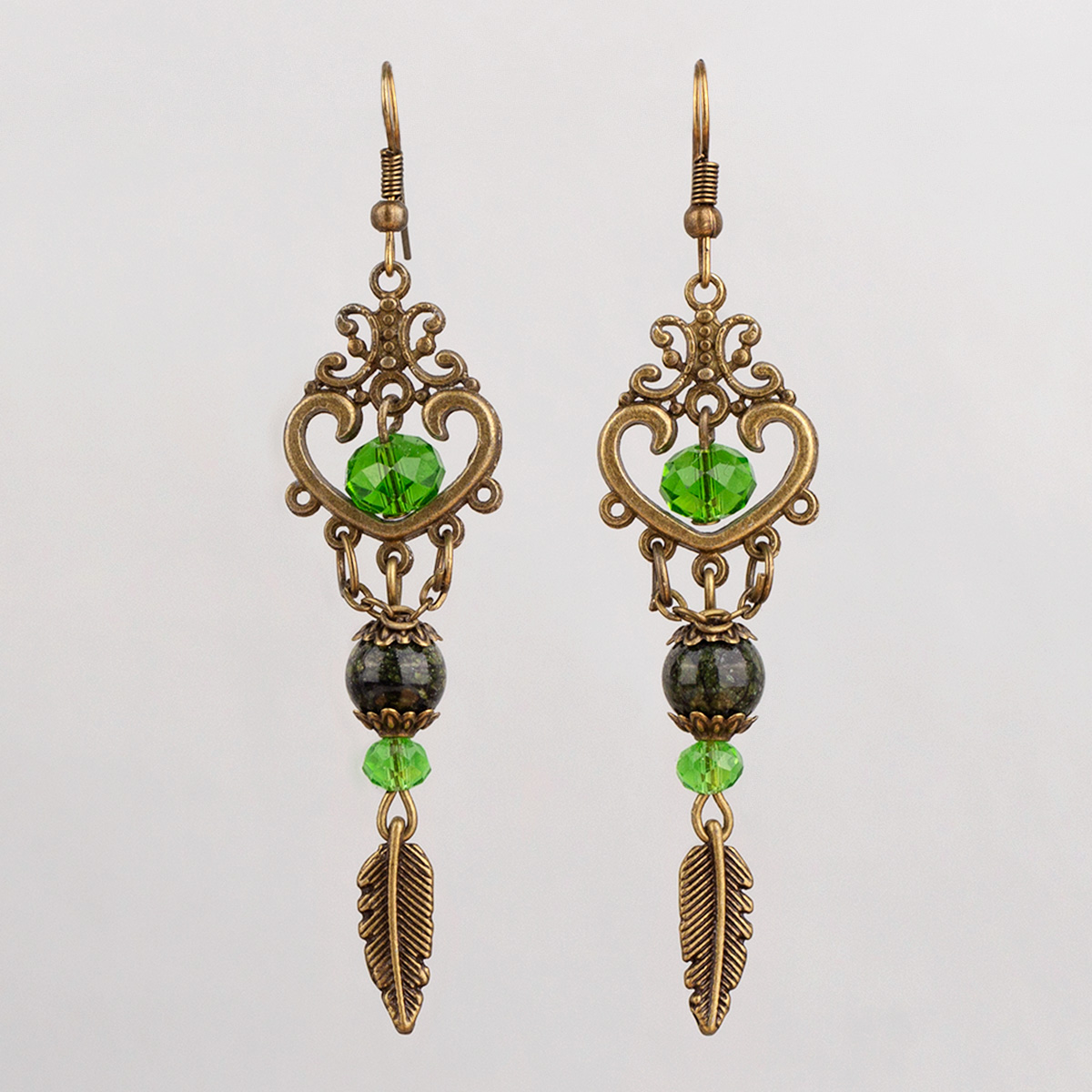 Earrings Bronze heart, Green crystal and Serpentine