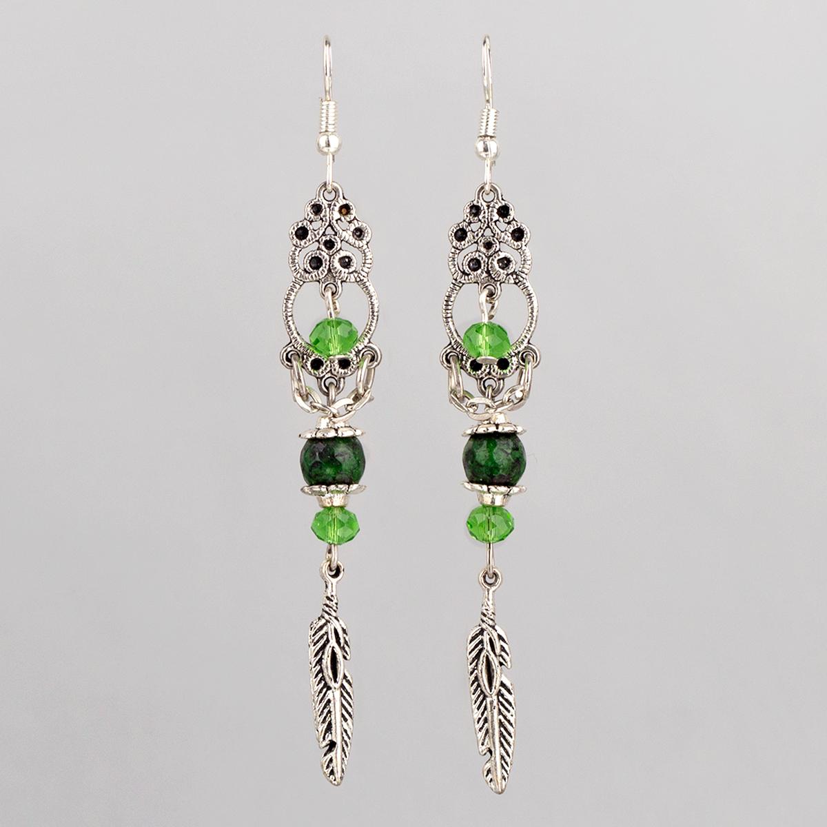 Green Serpentine Long earrings,