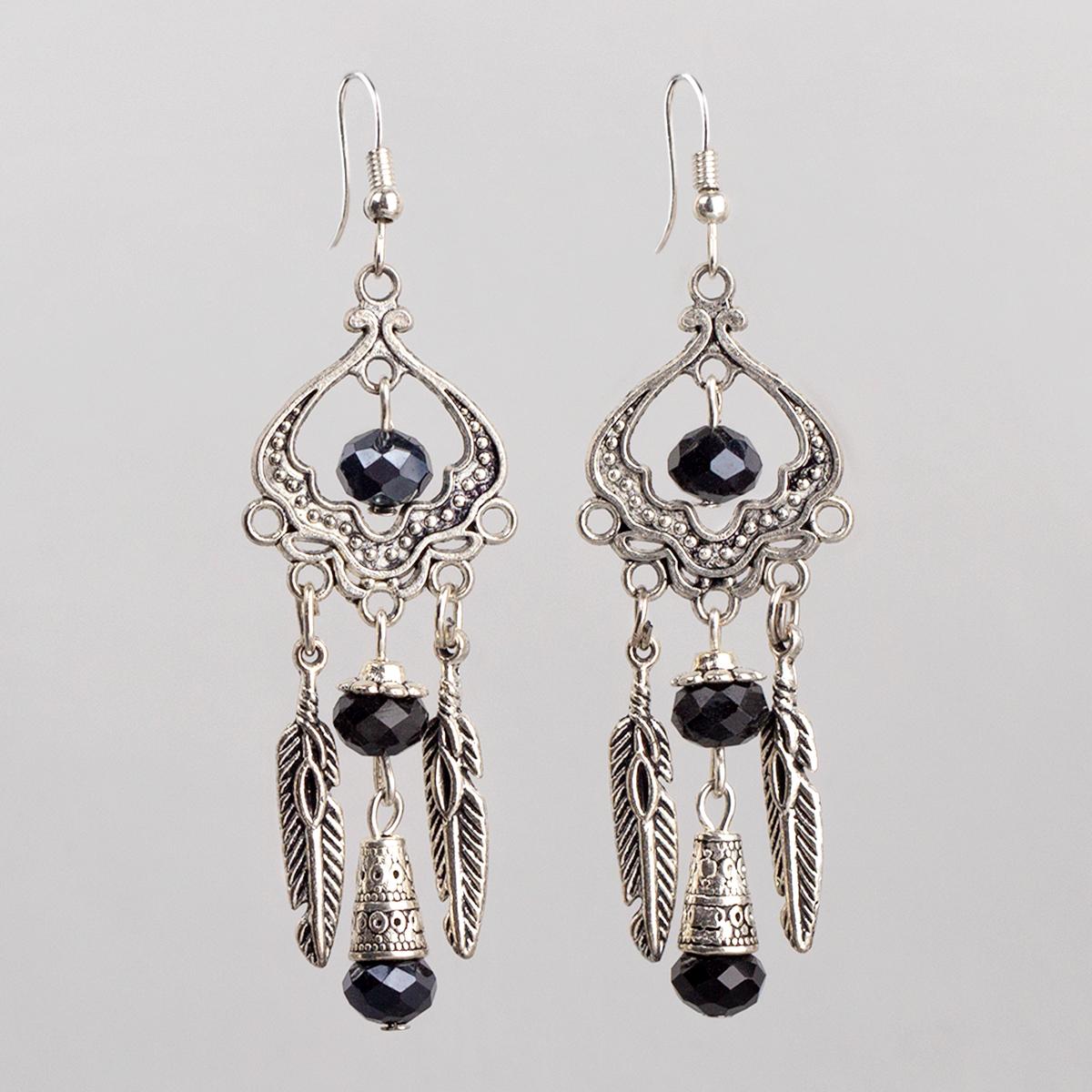 Openwork Earrings, Black Crystal