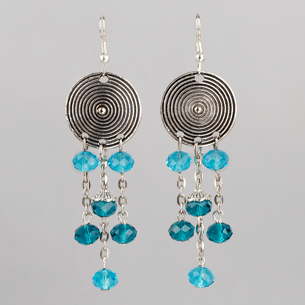 Earrings Light Circle with chains and turquoise crystal