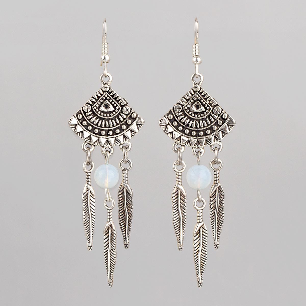 "Earrings ""Moon Dreamcatcher"" with moonstone, 8 cm"