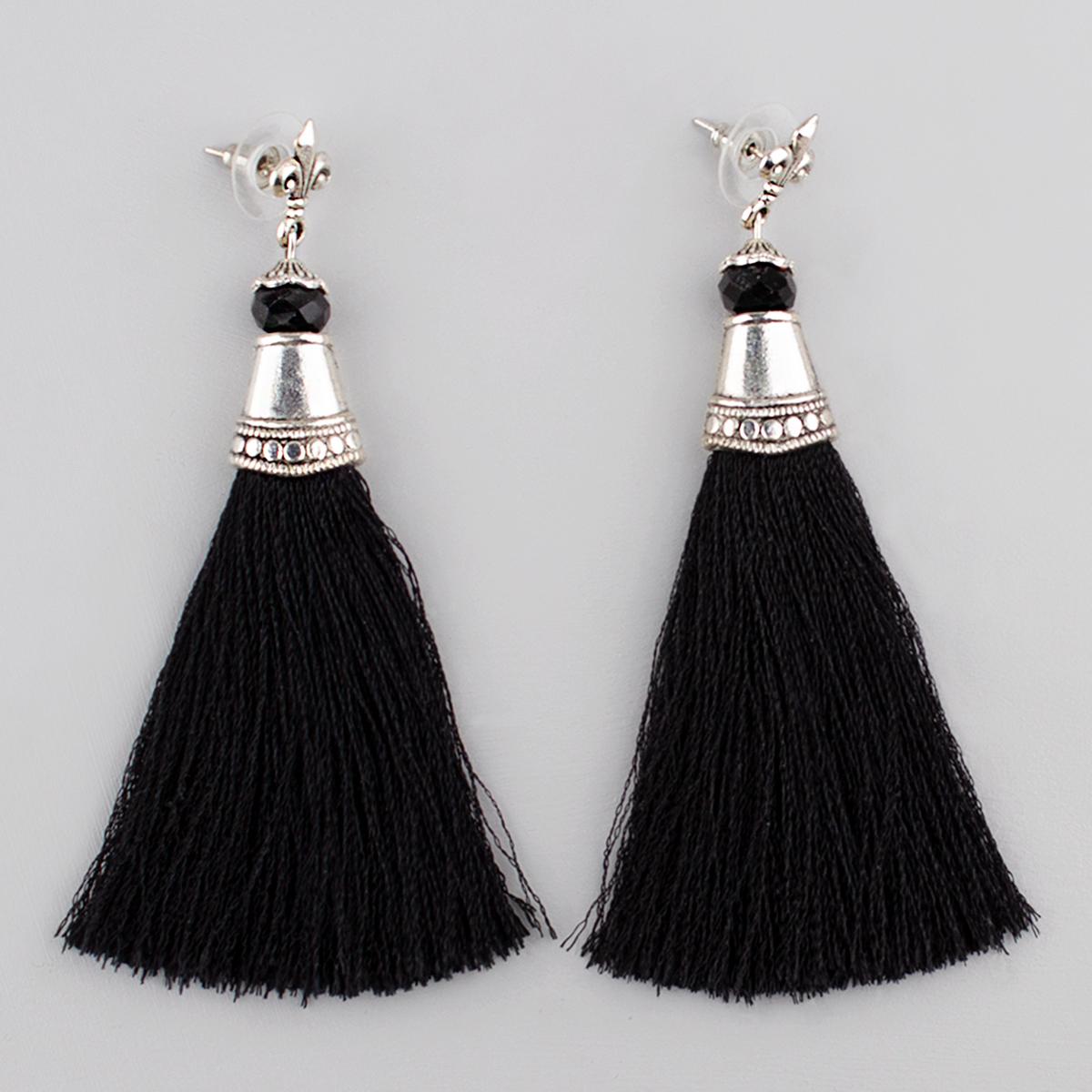 Tassel Drop Earrings, Black 9 cm,