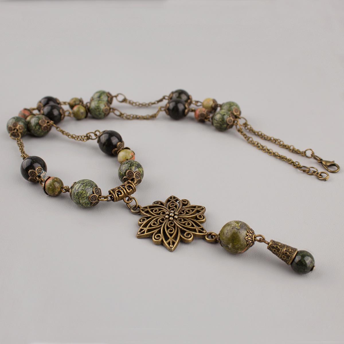 "Necklace ""Life stone"", Jasper and Serpentine"
