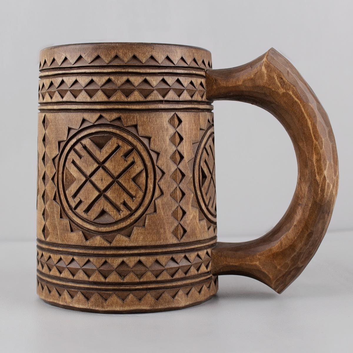 Large Turned Wooden Mug from Linden wood