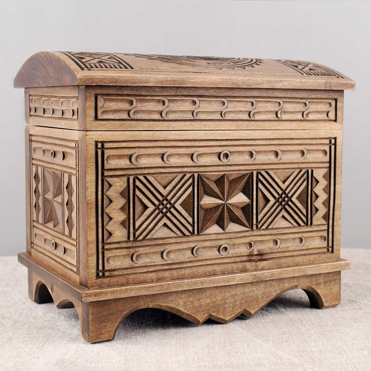 Carved Wooden Chest Box, Linden
