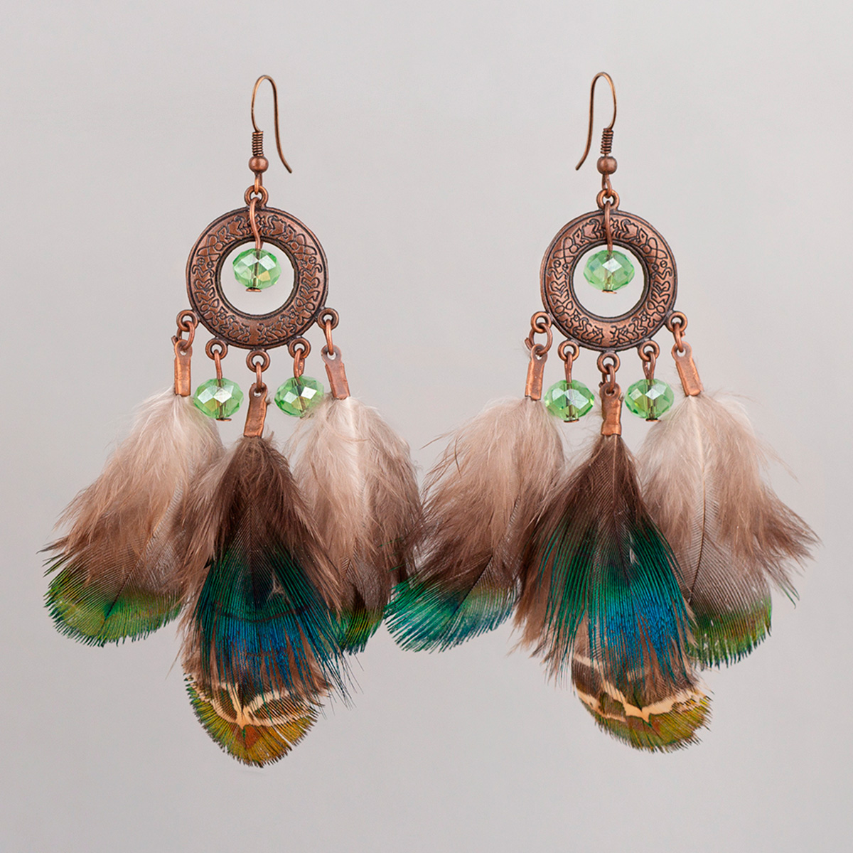 Iridescent Pheasant feathers earrings