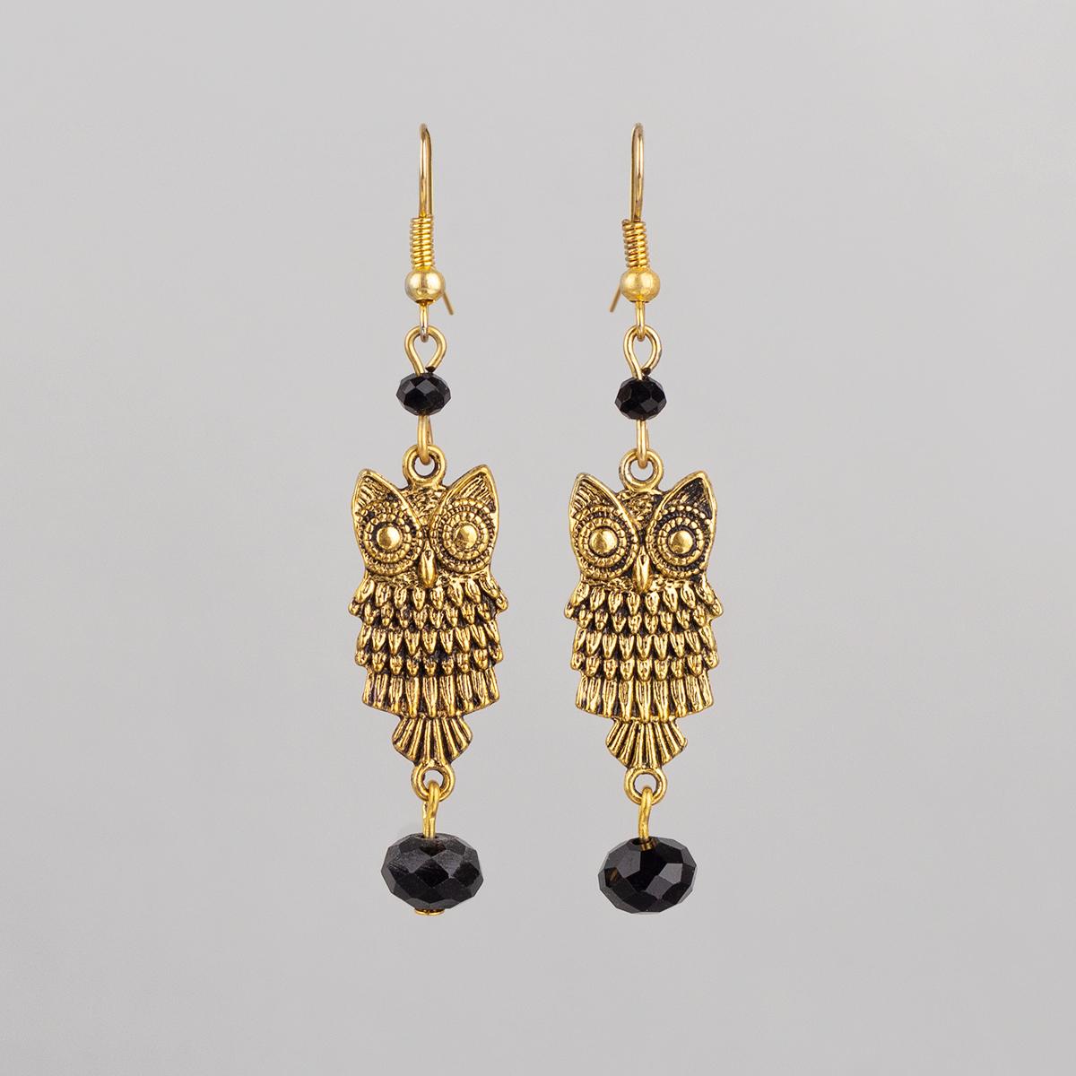 Earrings Elegant Owl with black crystal