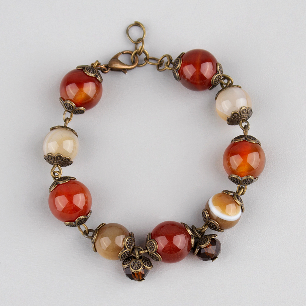 Bracelet with Carnelian and brown agate